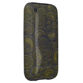 Burnt Umber Yellow Paisley motif iPhone 3 Tough Cases