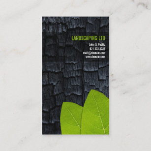 Green wood business cards business card printing zazzle uk burnt wood green leaves unique landscaper business card reheart Images