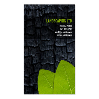 Burnt Wood Green Leaves Unique Landscaper Pack Of Standard Business Cards