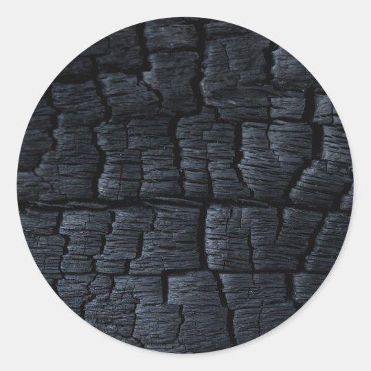 Burnt Wood Texture Classic Round Sticker