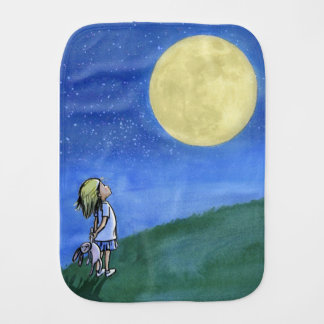 Burp cloth with a little girl looking at the moon