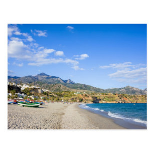 Burriana Beach at the Mediterranean Sea in Nerja Postcard