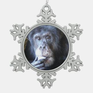 Burrito Chimpanzee Snowflake Ornament