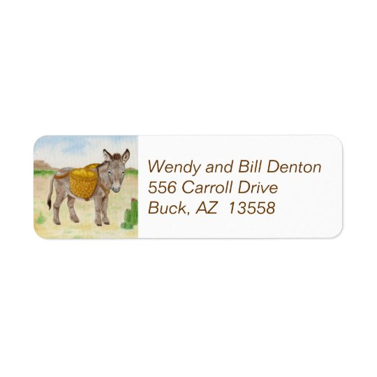 Burro with Basket return address label
