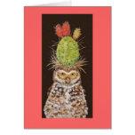 burrowing owl cactus card