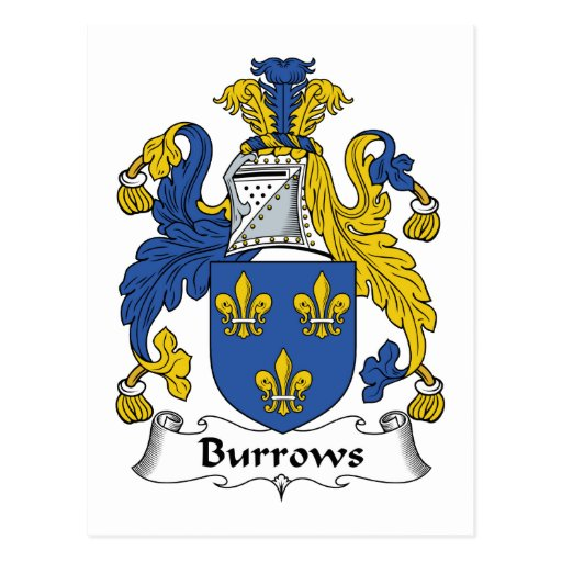 Burrows Family Crest Postcard