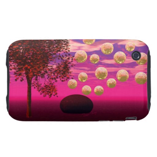 Burst of Joy, Abstract Magenta Gold Inspiration iPhone 3 Tough Cases