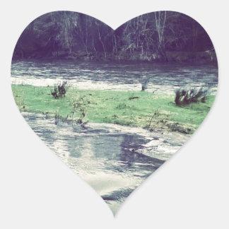 Bursting river heart sticker