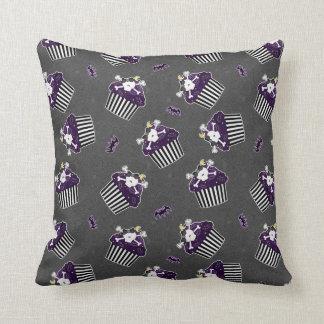 Burtonesque Skull Cupcake and Bats Pillow