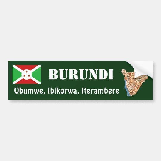 Burundi Flag + Map Bumper Sticker