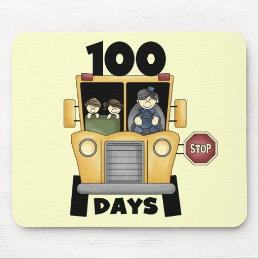 Bus 100 Days of School t-shirts and Gifts Mouse Pad