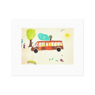 Bus drawing by kid stretched canvas print