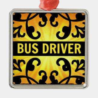 Bus Driver Damask Christmas Ornament