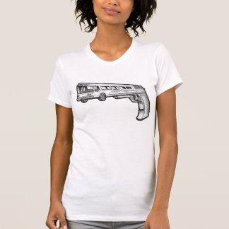 Bus Gun vintage style destroyed white womens tee