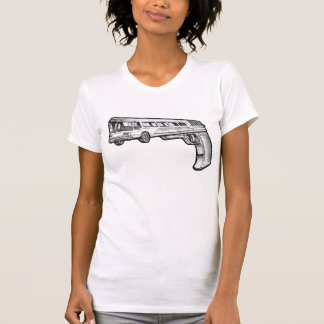 Bus Gun vintage style destroyed white womens tee