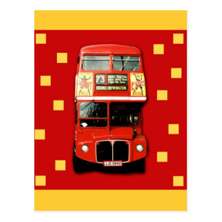 Bus Red Yellow Postcard