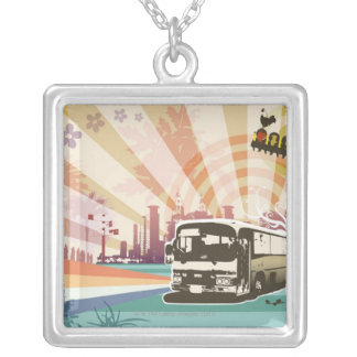 Bus Silver Plated Necklace