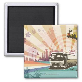 Bus Square Magnet