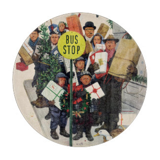 Bus Stop at Christmas Cutting Board