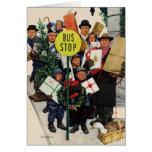 Bus Stop at Christmas Greeting Card