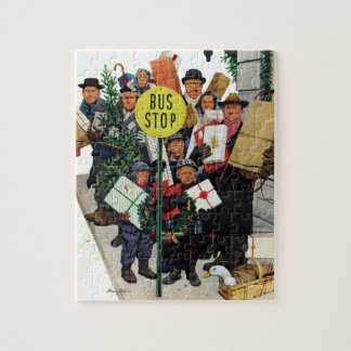 Bus Stop at Christmas Jigsaw Puzzle