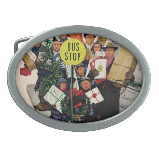 Bus Stop at Christmas Oval Belt Buckles