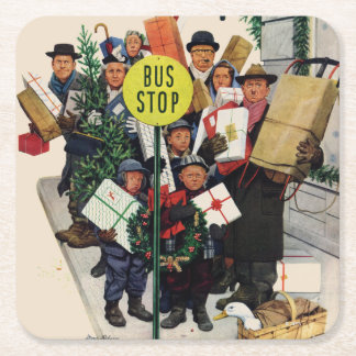 Bus Stop at Christmas Square Paper Coaster