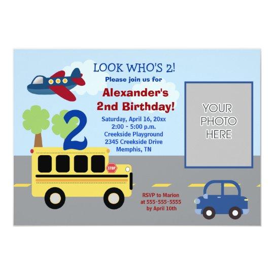 Bus Transportation Theme *PHOTO* Birthday 5x7 Card