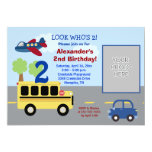 Bus Transportation Theme *PHOTO* Birthday 5x7 13 Cm X 18 Cm Invitation Card