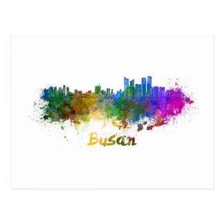 Busan skyline in watercolor postcard