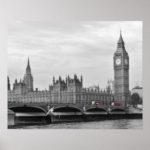 Buses on Westminster Bridge Poster