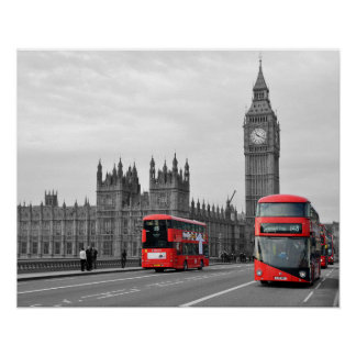 Buses on Westminster Bridge Poster