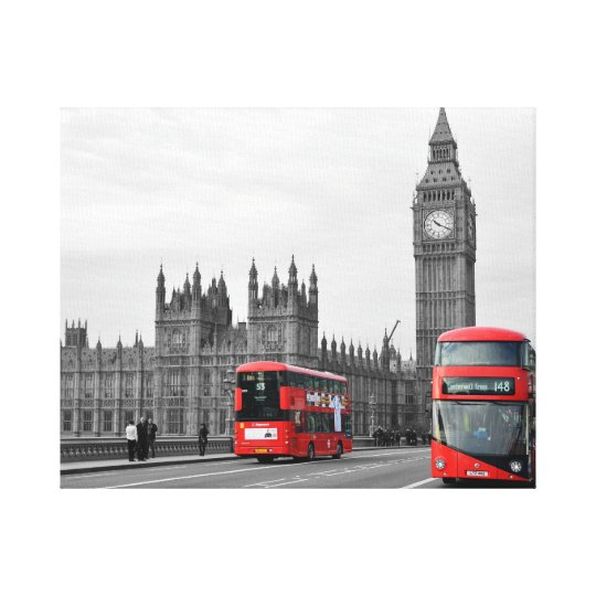 Buses on Westminster Bridge Wrapped Canvas