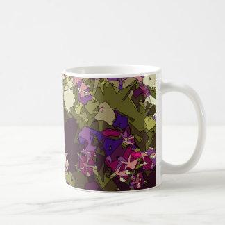 Bush of red purple and white daisies basic white mug