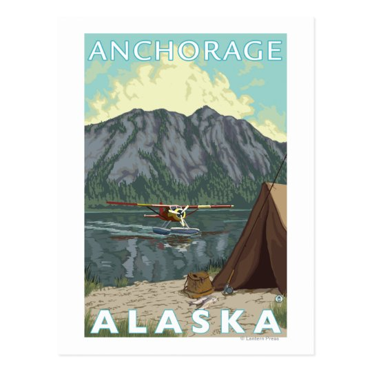 Bush Plane & Fishing - Anchorage, Alaska Postcard
