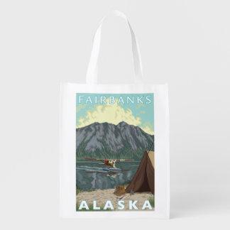 Bush Plane & Fishing - Fairbanks, Alaska Reusable Grocery Bag