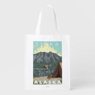 Bush Plane & Fishing - Sitka, Alaska Reusable Grocery Bag