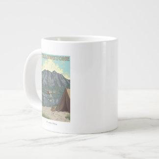 Bush Plane & Fishing - Yellowstone National Giant Coffee Mug