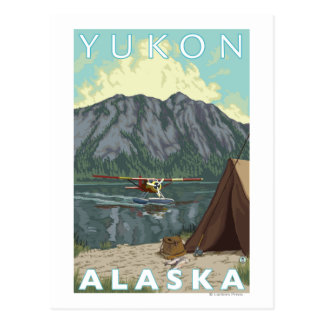 Bush Plane & Fishing - Yukon, Alaska Postcard