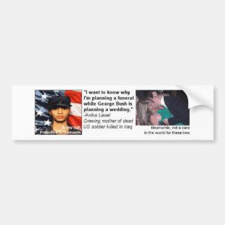 Bush plans a wedding while a soldiers mother plans bumper sticker