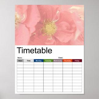 Bush Roses Mono Timetable Poster