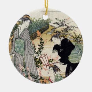 Bushclover at Tamagawa, Kubo Shunman Round Ceramic Decoration