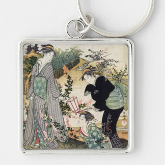 Bushclover at Tamagawa, Kubo Shunman Silver-Colored Square Key Ring