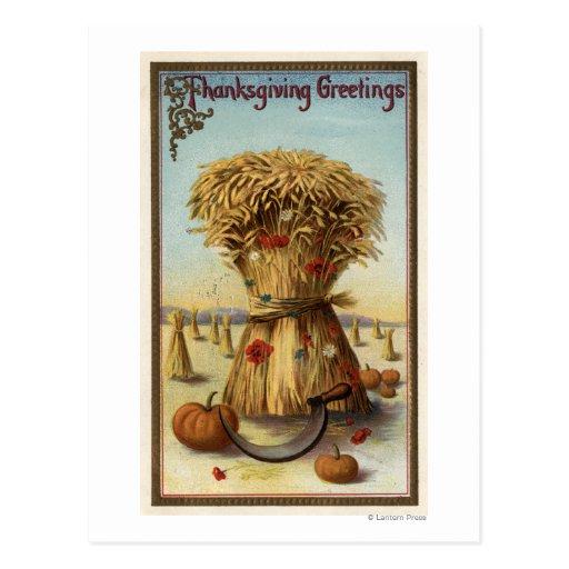 Bushel of Hay and Scythe Postcards