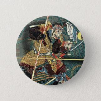 bushido fighting japanese ukiyo-e samurai warrior 6 cm round badge