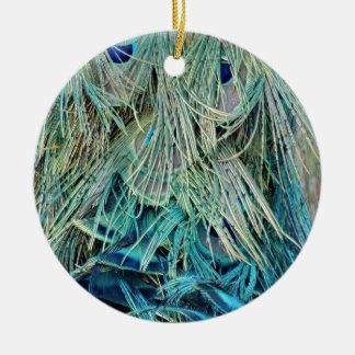 Bushy Peacock Feathers Hidden Eyes Christmas Ornament
