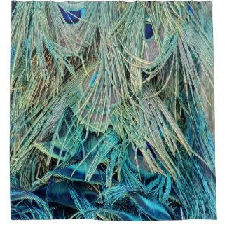 Bushy Peacock Feathers Hidden Eyes Shower Curtain