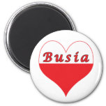 Busia Polish Heart 6 Cm Round Magnet