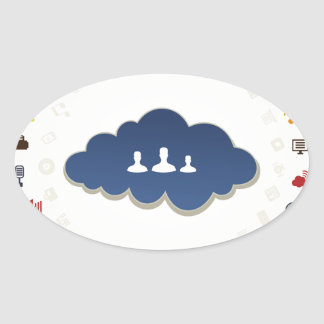 Business a cloud oval sticker