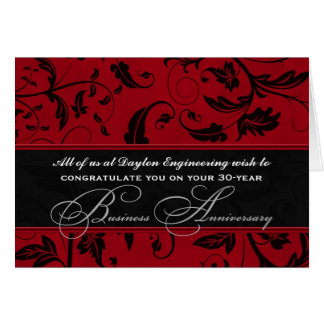 Business Anniversary Custom Front Red Damask Card